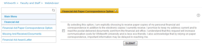 Correspondence Option Screenshot