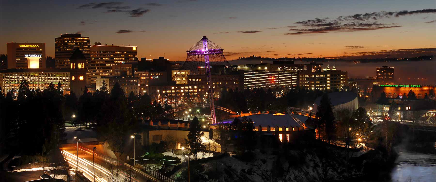 The downtown Spokane skyline at dusk.