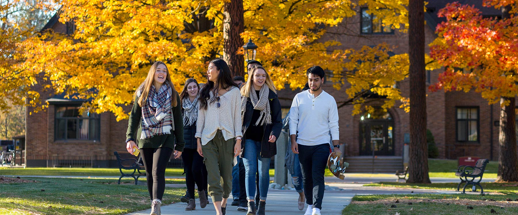 A group of students walk on a path through campus. Fall trees surround them.